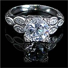 #3_ANTIQUE STYLE _BRILLIANT CLEAR CZ RING SZ-7__925 STERLING SILVER