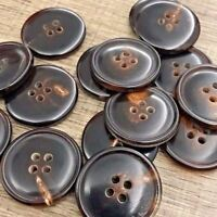 "Real Buffalo Horn Button 6pcs 25mm 1"" 40L Natural Dk Brown  Cardigan Bouton"