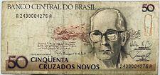 50 Brazilian Cruzados Novos (Pre-Reais) Brazil Banknote 1989-90 South American