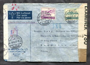 p490 - SWITZERLAND 1943 CENSORED Cover to CANADA via Germany, Portugal. Watch Co