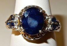 KANCHANABURI BLUE SAPPHIRE RING IN 925 STERLING SILVER, PLATINUM OVERLAY  SZ 8