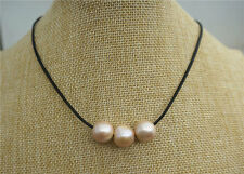 "18"" Beach Bride Boho Brown Leather Genuine 14mm Pink Pearl Necklace"