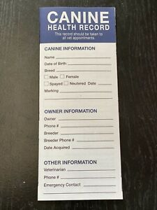Canine(Dog/Puppy) Health Vaccinations Deworming Records (20 Pack)