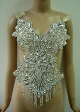 BD05 Pretty Bodice Fringed Sequin Beaded Applique Silver Dancewear/Belly Dance