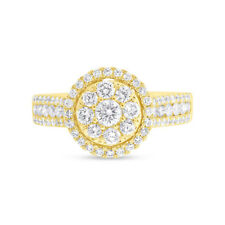 1.01 CT 14K Yellow Gold Natural Round Cut Diamond Cluster Halo Engagement Ring