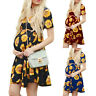 Maternity Womens Floral Short Sleeve Pregnancy Summer Beach Party Dress Cocktail