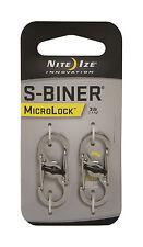 Nite Ize S-Biner Microlock Carabiner Key Chain 2 Pk Stainless Steel LSBM-11-2R3