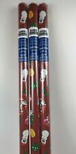 3 New SUPER MARIO Bros CHRISTMAS 20sq ft WRAPPING Paper RED Snowman Wreath