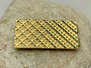 Vtg Anson Gold Tone Diamond Cut Pattern Design Money Clip Holder Jewelry Bills
