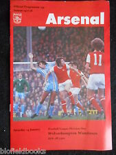 ARSENAL v WOLVERHAMPTON WANDERERS Football Club Programme - 14th January 1978