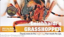 2014 $1 Pad Printed Coin Bright Bugs Series - Leichhardt's Grasshopper