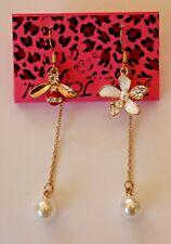 Betsey Johnson Crystal Rhinestone Enamel Flower & Bee Dangle Hook Earrings