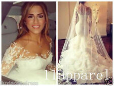 2018 Arabic Muslim Bridal Vestido Long Sleeve Mermaid Wedding Dress Bridal Gowns