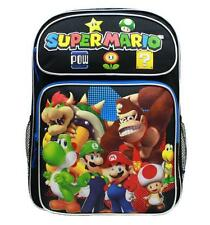 "Super Mario Bros Large Backpack School Bag 16"" Licensed by Nintendo Luigi Black"