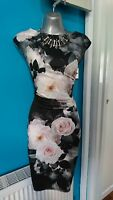 Lipsy dress 14 l xl bodycon sexy wedding evening prom gown floral print michelle