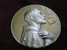 """Silver & Gold Tone SWALLOWS OBEY ST. FRANCIS, 2.5"""" Medal, ITALY ESM, See Celano"""
