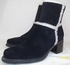 Markon Wos Boots DONALD US 8.5 M Black suede faux Fur Ankle Heel Zip Winter 995