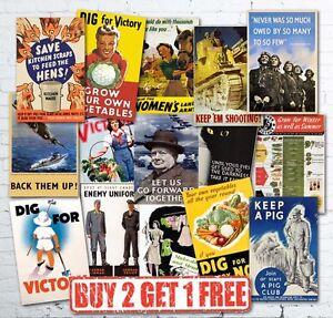 Vintage High Quality Allied WW2 World War II Propaganda Retro Posters A3/A4/A5