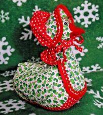 Handmade Grandma Christmas Goose Stuffed Animal Apron Glasses Holly Polka Dot