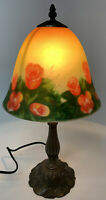 Reverse Painted Glass Lamp Shade Bronze Metal Roses Victorian/Vintage-Style