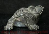 "4.2""bronze chine Feng Shui trois pattes grenouille crapaud pièce richesse Statue"