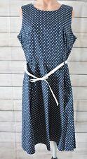 Caroline Morgan Skater Dress Rockabilly Size 16 Navy Blue White Polkadot