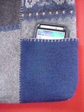 NEW Handmade Blue & Grey Boiled Wool Shoulder Bag Handbag w/ 4 Outer Pockets