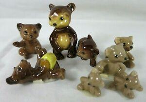 Vintage Hagen Renaker Brown Bears 8 Miniatures Standing Honey Little Teddy