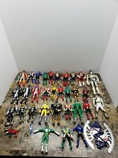Power Rangers Action Figure Lot & Weapons Black Blue red green silver 31 figures