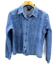 WOOLRICH Denim Button Front Leaf Detail Womens Shirt Size Large