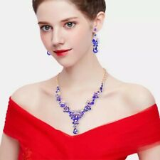 Fashion Indian Bridal Earrings Necklace Set Luxury Crystal Jewelry Sets