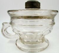 Antique LOMAX Spill Guard Kerosene or Oil Hand Lamp 1870 Clear Paneled Glass