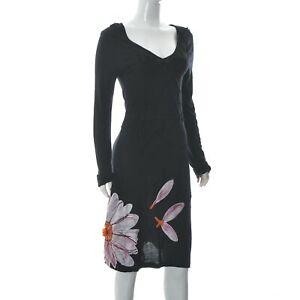 Desigual Women's Wide V-Neck Empire Dress Black Floral Printed Long Sleeve L