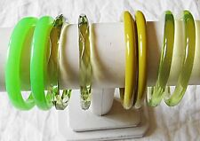 'VINTAGE' LUCITE PLASTIC VARIOUS GREENS COLOURS BANGLE BRACELET COLLECTION 8 WOW