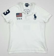 Polo Ralph Lauren Womens Skinny White USA 3 Big Pony Pique Jersey Shirt Large