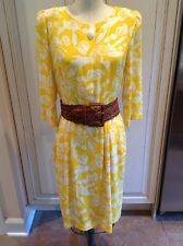 Vintage Yellow And White Print Dress 3/4 Sleeves 6 1970's