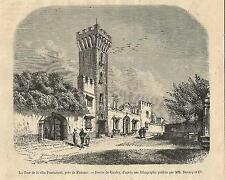 Stampa antica FIRENZE Villa Panciatichi Torre degli Angli 1874 Old print Florenc