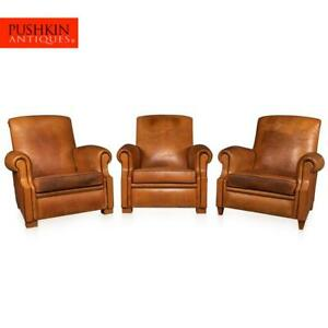 STYLISH MID-20th CENTURY FRENCH SET OF THREE TAN LEATHER CLUB CHAIRS c.1930