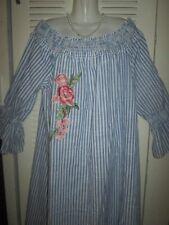 MLLE GABRIELLE Blue White Stripe RESORT Elastic Off Shoulder Shirt Sun Dress 2X