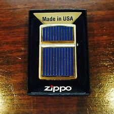 Zippo Lighter Blue and Gold Double Emblem 1994 Design