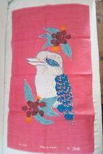 Vintage Ladelle Kookaburra Tea Towel Pure Linen Brand New