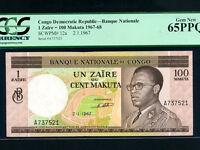 Congo Dem. Rep.:P-12a,1 Zaire=100 Makuta,1967 * Mobutu * PCGS Gem UNC 65 PPQ *