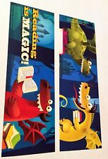 "NEW! 36 DRAGON ""READING IS MAGIC"" BOOKMARKS TWO DESIGNS PARTY FAVORS KNIGHT"