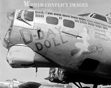 USAAF WW2 B-17 Bomber D-Day Doll 8x10 Nose Art Photo WWII