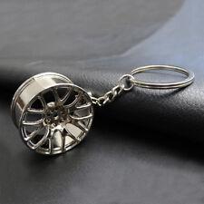 Silver Creative Zinc Alloy Car Wheel Hub Key Chain Car Key Pendant Decoration