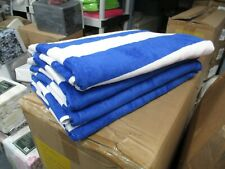 6 Pack Large Beach Resort Pool Towels in Cabana Stripe Blue 30x60 100% COTTON !