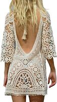 Women's Bathing Suit Cover Up Crochet Lace Bikini Swimsuit Dress One Size M
