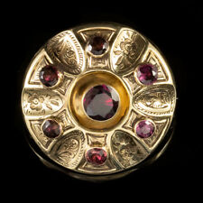 ANTIQUE VICTORIAN 3CT ALMANDINE GARNET BROOCH LOCKET 9CT GOLD CIRCA 1880