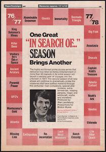IN SEARCH OF...__LEONARD NIMOY__Original 1977 Trade AD / poster_TV series promo