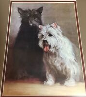 West Highland Terrier and Scottish Terrier Framed Dog Print Pre-owned.